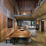 Architect: Studio PKA http://www.purankumar.com/Photographer: Amit Pasricha ceiling, courtyard, daylighting, estate, interior design, living room, lobby, brown