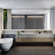 Treehouse at Parkside Walk – MJA Studio architecture, bathroom, interior design, plumbing fixture, product design, room, sink, gray