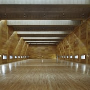 The expansive skylights cast interesting shadows architecture, ceiling, daylighting, floor, flooring, hardwood, interior design, lobby, structure, tourist attraction, wood, brown