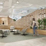 Built in a porous brickwork pattern but made ceiling, daylighting, floor, flooring, furniture, interior design, lobby, wall, gray