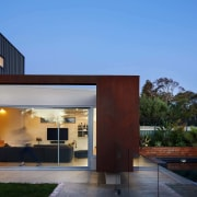 Weathering steel adds an industrial element to the architecture, estate, facade, home, house, property, real estate, residential area, teal