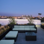 Dusk on the roof apartment, architecture, condominium, estate, home, house, penthouse apartment, property, real estate, residential area, resort, roof, swimming pool, blue, black