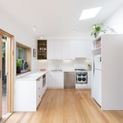 Architect: Drawing Room ArchitecturePhotography by Dan Fuge countertop, floor, hardwood, interior design, kitchen, property, real estate, wood flooring, white