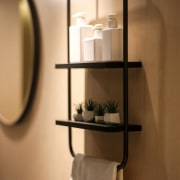 Hotel Ease Access furniture, light fixture, product design, shelf, shelving, tap, brown, orange
