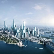 Sydney in 2050 aerial photography, bird's eye view, building, city, cityscape, daytime, downtown, landmark, metropolis, metropolitan area, sky, skyline, skyscraper, tower block, urban area, gray