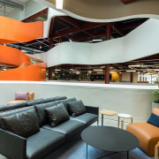 The first floor of The B:HIVE building is architecture, furniture, interior design, gray, black