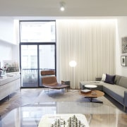 High windows mean views of the city ceiling, floor, interior design, living room, real estate, room, window, gray, white