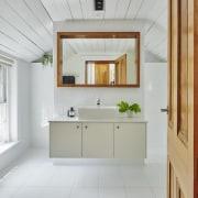 The bathroom vanity floats above the floor architecture, ceiling, floor, flooring, home, interior design, room, window, gray