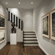 More art gallery than home? ceiling, exhibition, floor, flooring, interior design, wood flooring, gray