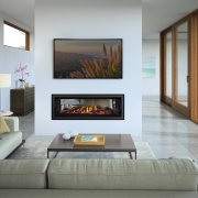 Regency Greenfire GF1500LST fireplace, floor, furniture, hearth, interior design, living room, wall, gray, white