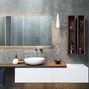 An almost room-height ladder in walnut – matching bathroom, bathroom accessory, bathroom cabinet, ceramic, floor, flooring, interior design, room, shelf, sink, tap, tile, wall, gray