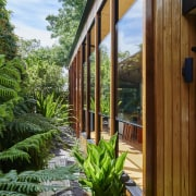 It's a veritable forest outside architecture, backyard, cottage, estate, facade, home, house, landscaping, outdoor structure, property, real estate, window, yard, brown