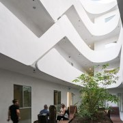 The garden on the ground floor architecture, ceiling, daylighting, house, interior design, white, gray