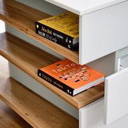 This considered shelf unit is the perfect showcase chest of drawers, desk, drawer, floor, furniture, product, product design, shelf, shelving, table, wood, brown, white