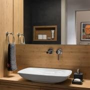 The wood helps to show off the vanity bathroom, bathroom accessory, bathroom cabinet, floor, interior design, plumbing fixture, product design, room, sink, tap, brown