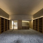 There's plenty of storage architecture, ceiling, daylighting, floor, interior design, lighting, lobby, wall, wood, brown, gray