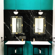 This room has an almost 1920s appearance bathroom, product design, room, black, teal