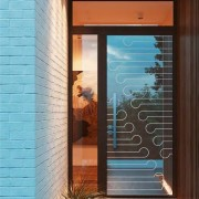 A printed design can set your entrance apart architecture, door, glass, home, house, interior design, real estate, wall, window, brown, teal