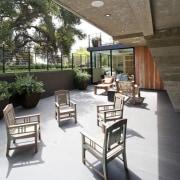 A sunken outdoor area architecture, furniture, interior design, outdoor structure, patio, table, white