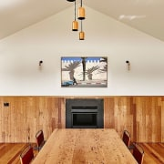 A tall gabled ceiling sits above the dining ceiling, floor, flooring, hardwood, home, interior design, real estate, room, wall, wood, wood flooring, gray
