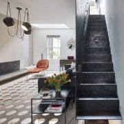 Andy Martin Architecture – Renovation in London floor, flooring, furniture, handrail, interior design, living room, stairs, gray, black