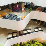 With no two floorplates identical, The B:HIVE's central architecture, interior design, white