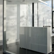 Inside, the offices are clean and bright architecture, floor, glass, interior design, product design, wall, white, gray