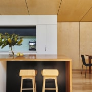 Another view of the kitchen island architecture, ceiling, chair, furniture, home, house, interior design, product design, table, wall, wood, orange
