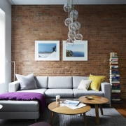 Another view of the lounge couch, furniture, home, interior design, living room, room, table, wall, black