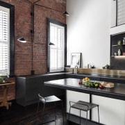The main counter follows the window countertop, interior design, kitchen, loft, table, black, white