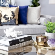 Look to small plants, coral, shells and crystals furniture, home, interior design, living room, table, gray
