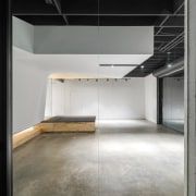 From the meeting room, looking out architecture, floor, flooring, interior design, gray, black