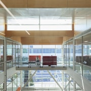 The existing glass atrium brings natural light into architecture, ceiling, daylighting, interior design, leisure centre, gray