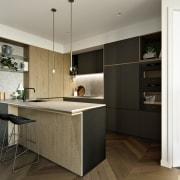 Treehouse at Parkside Walk – MJA Studio cabinetry, countertop, cuisine classique, floor, flooring, interior design, kitchen, white