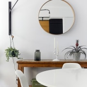 A circular mirror is certainly a contemporary choice furniture, interior design, product design, table, tap, wall, white