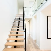 Glass balustrades serve to showcase the staircase exhibition, handrail, interior design, product design, stairs, white