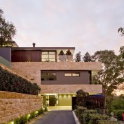 A facade of sandstone and thermally modified timbers architecture, cottage, estate, facade, home, house, property, real estate, residential area, white, brown