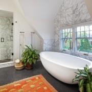 Marble-look tiles give the bathroom an elegant feel architecture, bathroom, bathtub, estate, home, interior design, property, real estate, room, window, gray
