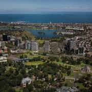 Mayfair Residential Tower – Zaha Hadid Architects aerial photography, bird's eye view, city, cityscape, metropolis, metropolitan area, panorama, photography, residential area, sky, skyline, suburb, urban area, brown, black