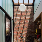 This skylight brings the outside in apartment, architecture, building, ceiling, daylighting, home, house, interior design, roof, structure, window, gray, black