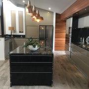 Centre Stage cabinetry, countertop, floor, flooring, hardwood, interior design, kitchen, laminate flooring, room, wood flooring, black