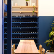 Architect: Studio GramPhotography by Jonathan VDK furniture, interior design, shelf, shelving, table, wood, blue