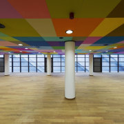 This new headquarters for the European Union Council ceiling, floor, flooring, function hall, interior design, leisure centre, real estate, sport venue, structure, brown