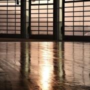 569 firestation architecture, evening, floor, flooring, light, lighting, line, reflection, shadow, structure, sunlight, water, window, wood, black