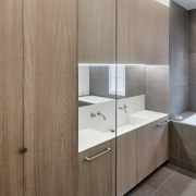 Andy Martin Architecture – Renovation in London bathroom, bathroom accessory, bathroom cabinet, cabinetry, countertop, floor, interior design, plywood, product design, sink, wall, gray, brown