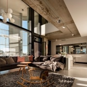 The Tervahovi Silos / PAVE Architects ceiling, interior design, living room, lobby, brown