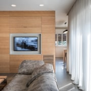 Wood panels contrast with the white ceiling architecture, ceiling, floor, home, house, interior design, living room, real estate, room, wall, wood, gray