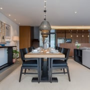 Another dining room, this time in a contemporary dining room, interior design, kitchen, property, real estate, room, gray