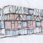 An early sketch for Boxcar, one of the design, drawing, sketch, structure, white