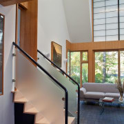 Photo by Jim Tetro architecture, daylighting, floor, furniture, handrail, home, house, interior design, stairs, wall, window, wood, gray